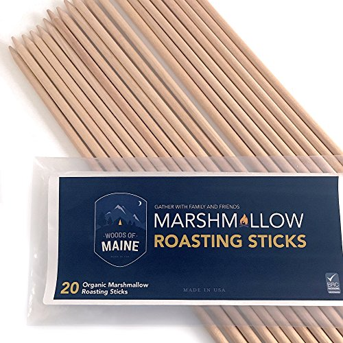 American Made White Birch Marshmallow and Hotdog Roasting Sticks a healthier alternative to imported bamboo or metal. BRC Food Grade Certified, Kosher. 20 count Family Pack (30'' long, 6mm thick)