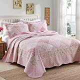 FADFAY Full Kids Cartoon Flowers Comforter Sets Girls Quilted Bedding Set Cute Comforter Bedding Sets Summer Quilt Blanket Adult Quilted Throws 3Pcs
