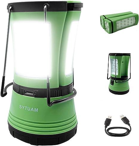 SYTUAM Linterna de Camping, multifunción Farol de Camping 3Modos USB Recargable Impermeable con Banco de energía,para ...