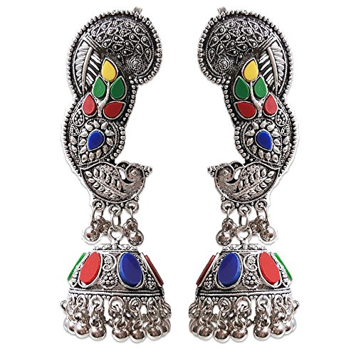n's Boho Gypsy Collection Indian Ethnic Diva Brass Silver Oxidized Bollywood Style Dangle & Drop Earrings ()