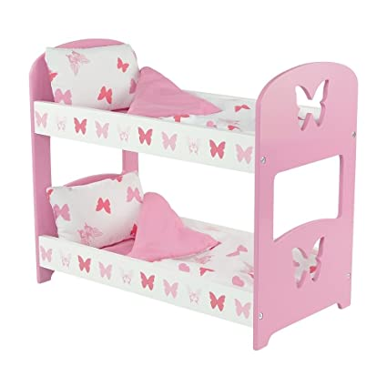 18 Inch Doll Furniture Lovely Pink And White Double Bunk Bed Includes Plush Reversible Bedding Fits 18 American Girl Dolls Butterfly Theme