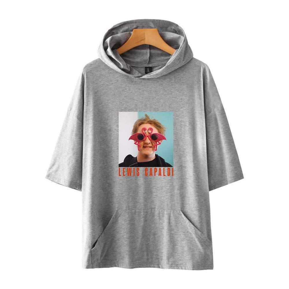 WANQIU Lewis Capaldi Camiseta Casual con Capucha de Manga Corta con Capucha para Hombres y Mujeres A Gray XXS: Amazon.es: Ropa y accesorios