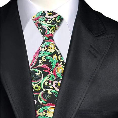 KDSXMLS Corbatas para Hombres Corbata Estampada Negra Corbata ...