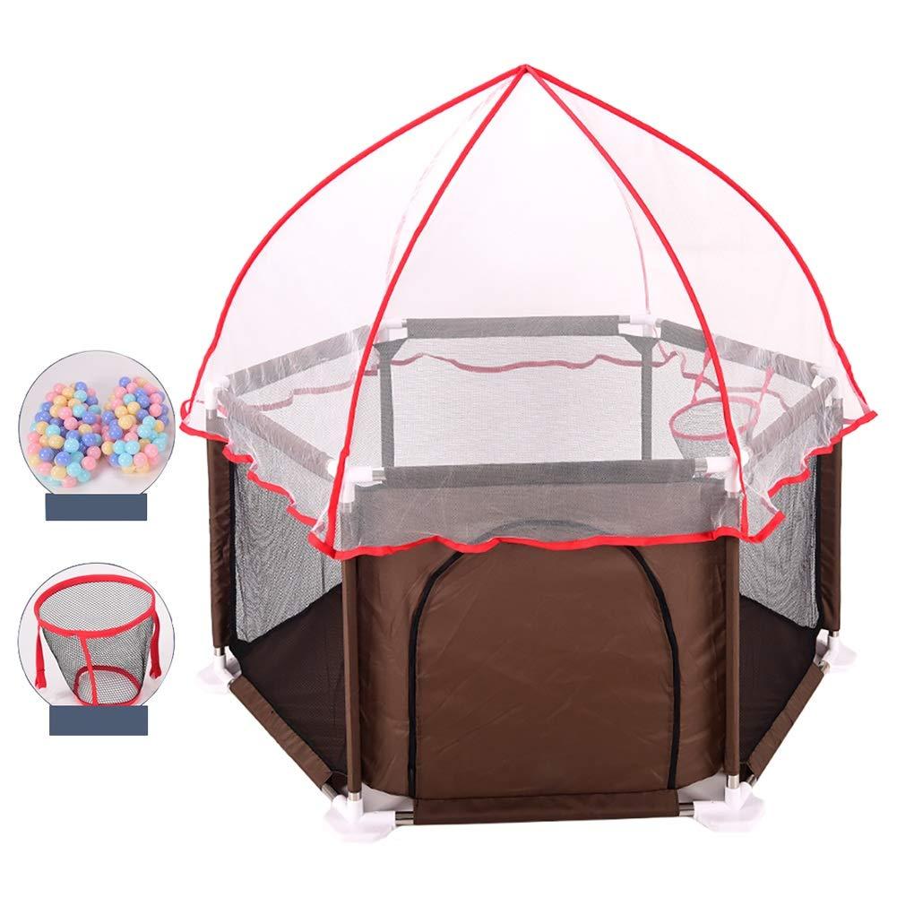 ベビーサークル プレイマットと蚊帳、屋内屋外ベビーベビーサークル、自立型の子供用プレイフェンス (色 : Brown)  Brown B07HG514SR