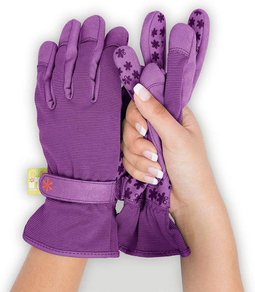 Dig It Handwear - Women's Nail and Fingertip Protector Gardening Gloves - Small/Medium - Purple