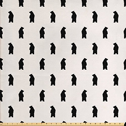 Ambesonne Animal Fabric by The Yard, Bear Silhouettes on Cream Background Abstract Simplistic Style Pattern Print, Decorative Fabric for Upholstery and Home Accents, Cream and Black - Fabric Christmas Bear