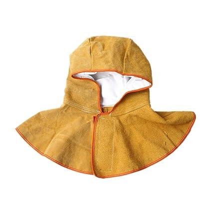 Máscara de soldadura de piel de vaca dividida con capucha protectora de arena y protección contra ...
