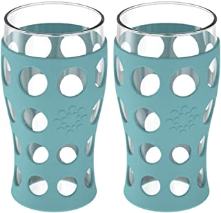 product image for Lifefactory 20-Ounce BPA-Free Indoor/Outdoor Protective Silicone Sleeve Beverage Glass, 2-Pack, Aqua Teal