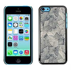 For Apple iPhone 5C Case , Art Painting Shapes Black White - Diseño Patrón Teléfono Caso Cubierta Case Bumper Duro Protección Case Cover Funda