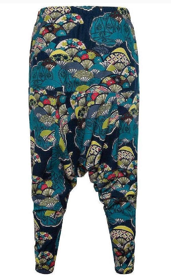 UUYUK Men Print Baggy Cotton Linen Elastic Waisted Casual Harem Jogging Pants