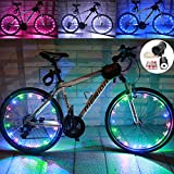 LEDMO (2 pack)Bicycle Bike Rim Lights, 20 LEDs Colorful Wheel Lights, LED String Light Colorful Bicycle Bike Wheel Rim Copper Wire Starry Light , Perfect for Safety and Fun Multicolor - Battery