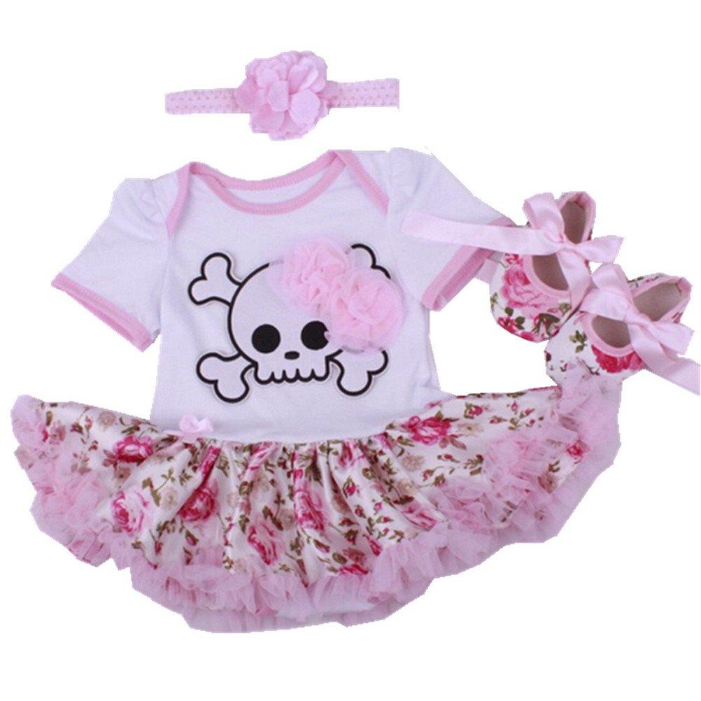 Sallyshiny Halloween Costume Newborn Baby Girl Romper Dress Outfit Set Bodysuit Tutu Skirt Clothes Party Dresses Headband Shoes(0-3 Months, Pumpkin Black)