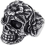 KONOV Bijoux Bague Homme - Rétro Tête de mort - Gothique Tribal - Biker - Acier Inoxydable - Anneaux - Fantaisie - pour Homme - Couleur Noir Argent