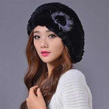 497619ae72d Winter Real Rex Rabbit Fur Hat Beret Cap Winter Genuine Women s Warm Hat  With Fox Fur