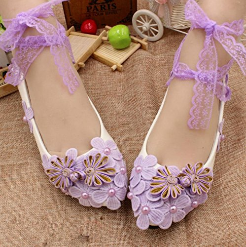 Wedding White Purple Shoes Bride Spring Heel Customize Lace Party Bridesmaid Si Height Dress Handmade Decals amp; Summer Anklet And Banquet Women's BpwtxRH