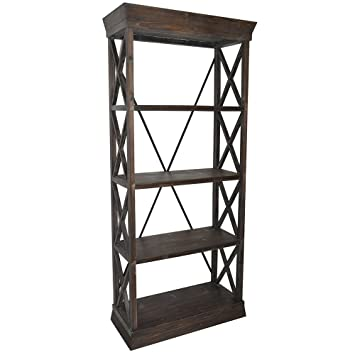 Crestview Collection CVFZR1051 FIR/Metal Furniture Grand Junction Bookcase