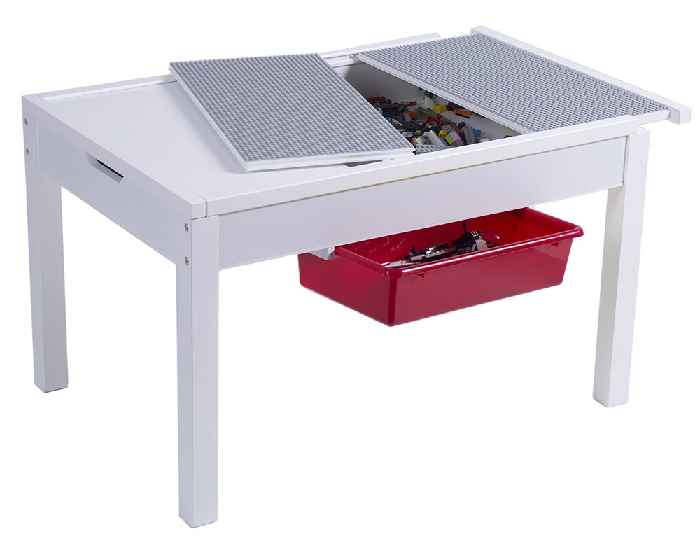 UTEX Kids 2-in-1 Activty Table with Storage, Construction Table for Kids,Boys,Girls, White by UTEX
