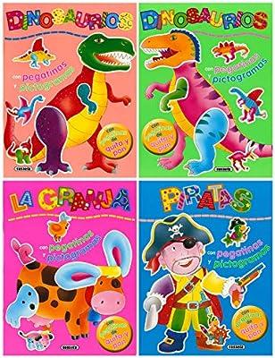 Pegatinas de quita y pon con pictogramas Pack de 4 libros: Amazon ...