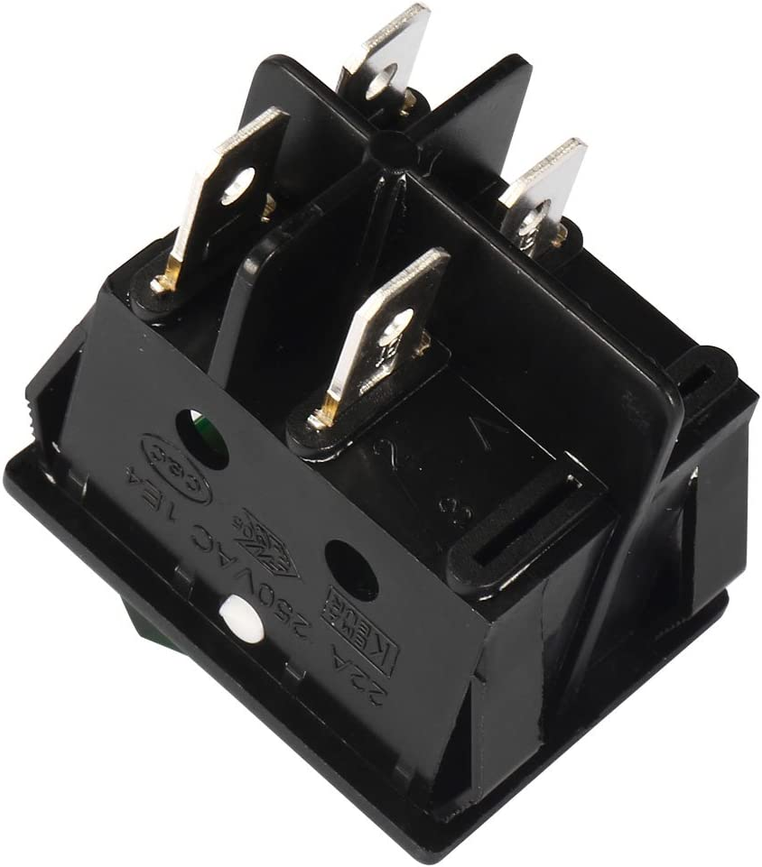 uxcell 10Pcs AC 20A//125V 22A//250V DPST 4P On//Off Backlit Green LED Light Boat Rocker Switches