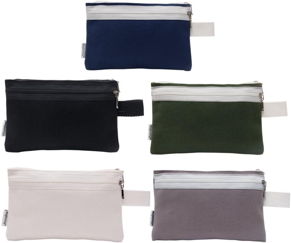 Augbunny Pack de 4/unidades Bolsa de lona para herramientas 100/% algod/ón resistente multiusos con cremallera multicolor