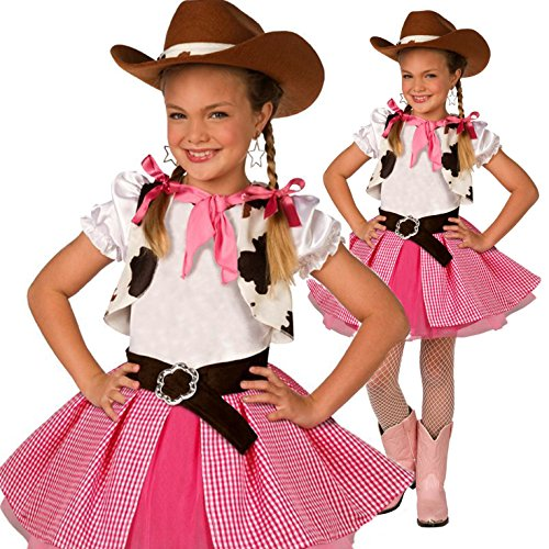 Girls Cowgirl Cutie Adorable Fancy Dress Costume - 3 Piece Quality Costume (Wild West Fancy Dress)