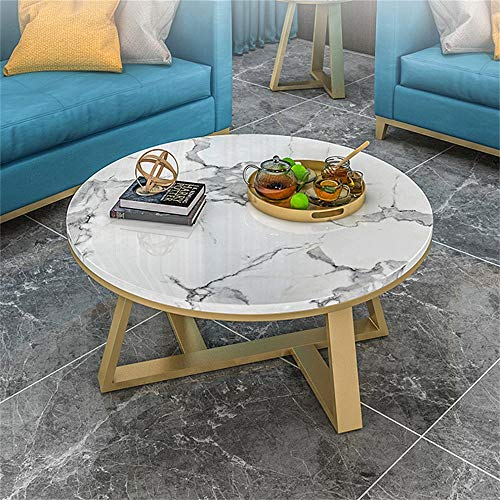 YIKE-Coffee Table Small-Sized Wrought Iron Round Coffee Table, White Natural Marble Table Top, Metal Frame Design, with 180 °C High Temperature Nano-Baked Paint, Living Room Leisure Table