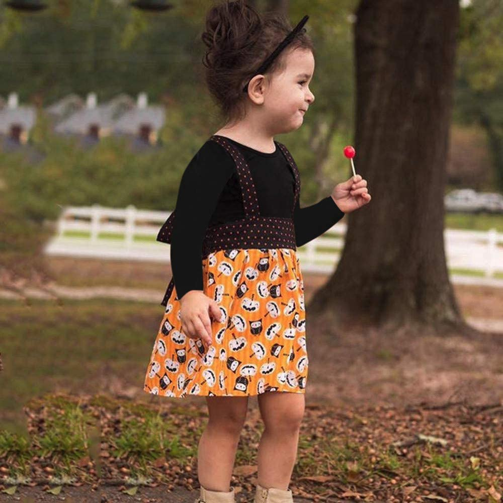 Baby Girls Halloween Costumes Hipster/Solid Tops Pumpkin Print Overall Skirt Cute Clothes Set