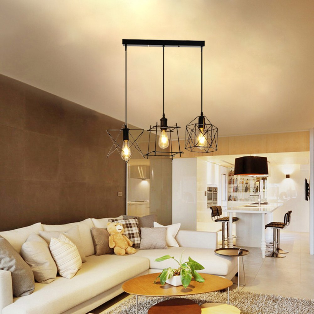 NIUYAO Antique Metal Cage Pendant Lighting Chandelier Rustic Kitchen Linear Island Light 3 Lights by NIUYAO (Image #6)