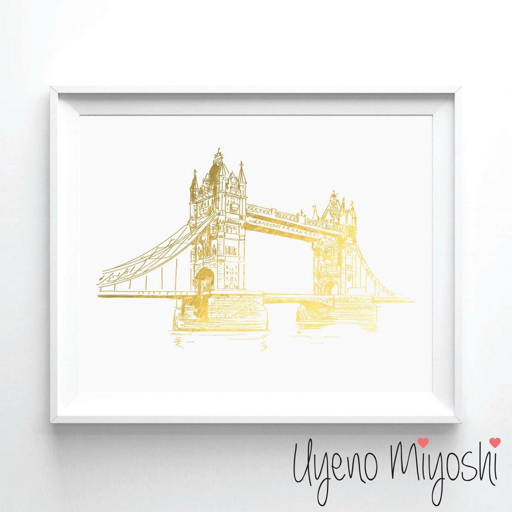 London Tower Bridge Hand Sketch Gold Foil Art Print London City Landmark Gold Print Home Nursery Room Wall Art Decor Gold Print