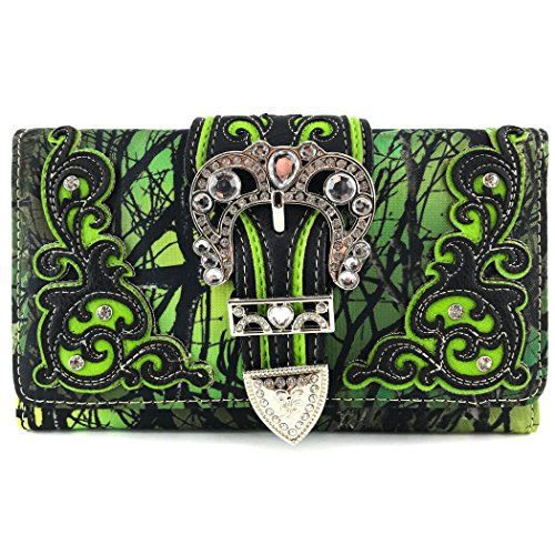Justin West Camouflage Tree Branches Bling Rhinestone Buckle Wallet (Buckle Green Wallet)