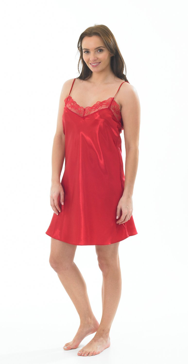 Marlon Ladies Satin & Lace Short Chemise/Slip/Nightie Red, Pink, Black & Ivory with pair of Tights Size 8, 10, 12, 14, 16, 18, 20, 22, 24