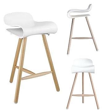 2xhome   Single Modern Style Decorative Tri Leg Chair Barstool, 26.5u0026quot;  White Plastic