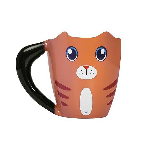thumbs Up! - Cat Mug - Tasse Céramique du changement de couleur en forme d'une chatte - queue est le poignée - noir / brun - 275ml - 1001557