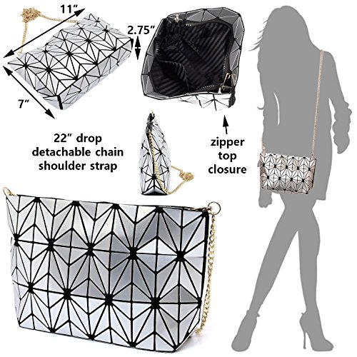 and eco Geometric Leather bag crossbody lattice purses shard handbags Pink luminous friendly aTBZE