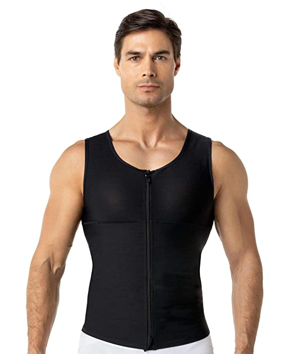 Leo Mens Abs Slimming Body Shaper with Back Support,Black,X-Large best men's posture corrector