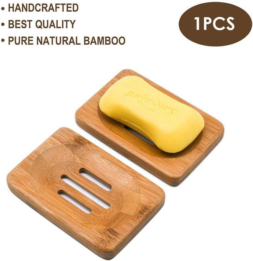 Soporte de Ducha de Limpiador de ba/ño de Caja de bamb/ú de Madera Hecha a Mano 1 Pieza Taoytou Jabonera