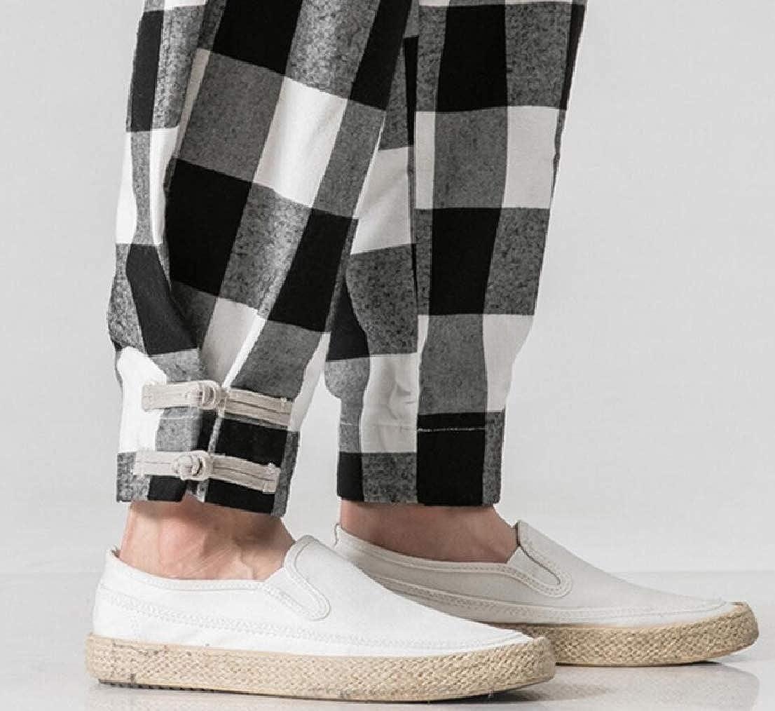 GenericMen Fashion Loose Elastic Waist Plaid Harem Pants Cotton Linen Trousers