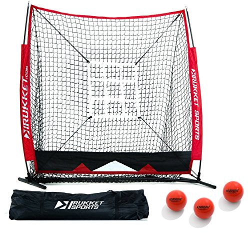 Rukket 6pc Baseball / Softball Bundle | 5x5 Hitting Net | 3 Weighted Training Balls | Strike Zone Target | Carry Bag | Practice Batting, Pitching, Catching | Backstop Screen Equipment Training Aids