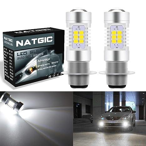NGCAT Juego de 2 bombillas LED para motocicleta, P15D, H6M, repuesto para luz