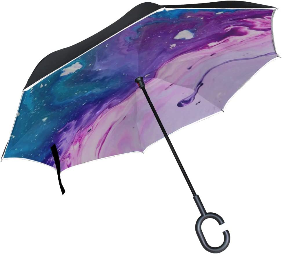 Double Layer Inverted Inverted Umbrella Is Light And Sturdy Abstract Paint Texture Acrylic Blue Purple Reverse Umbrella And Windproof Umbrella Edge N