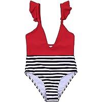 Toddler Girl - Traje de baño de una pieza para niña, sin mangas, pantalones cortos, traje de baño para playa