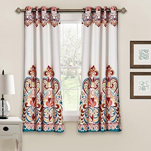 "Lush Decor Clara Curtains Paisley Damask Print Bohemian Style Room Darkening Window Panel Set for Living, Dining, Bedroom (Pair), 63"" x 52"", Turquoise and Tangerine"