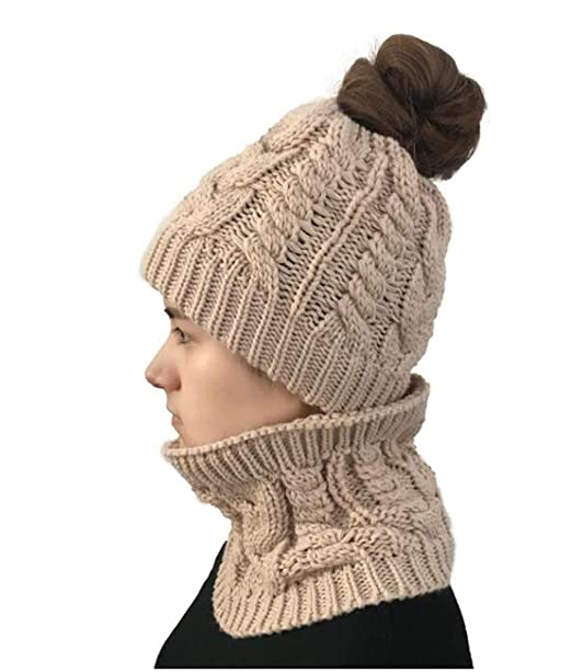 Women Ponytail Beanie Hat Scarf Set Crochet Knitted Messy Bun Knit Hat  Stretch Cable Chunky Bun e580bc64e75