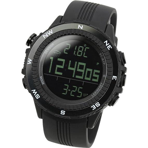 LAD WEATHER Reloj Altímetro Barómetro Brújula Pronóstico del Tiempo Deportes Sensor Alemán (BK)