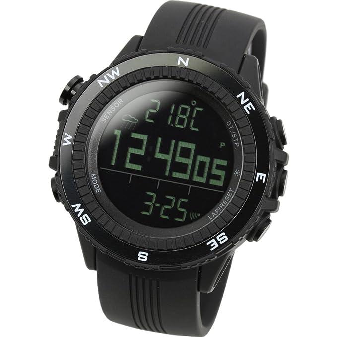LAD WEATHER Reloj Altímetro Barómetro Brújula Pronóstico del Tiempo Deportes Sensor Alemán (BK): Amazon.es: Relojes