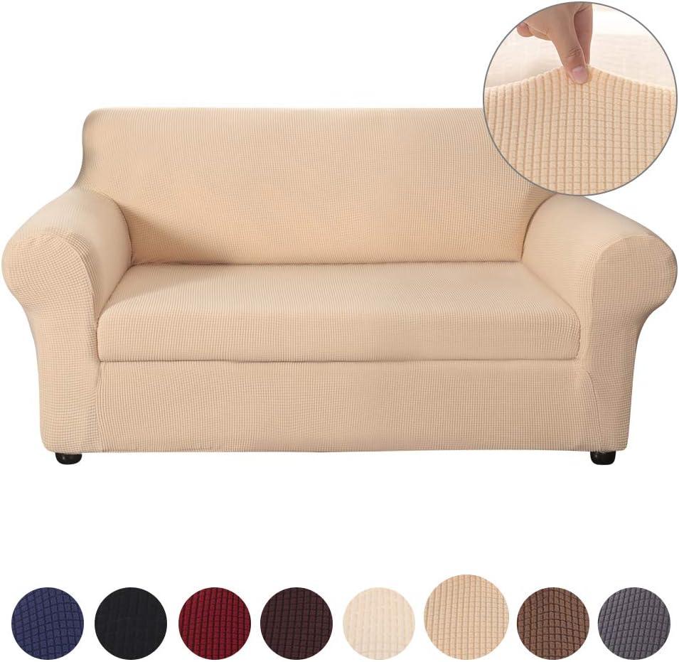 Funda sofá Duplex,Tejido Jacquard de Poliéster Funda para Sofá Elástica Cubre Sofa Universal Cubierta de Muebles contra Mascotas polvo, Desmontable y Lavable,Funda Protector para Sofá(Beige,2 Plazas)
