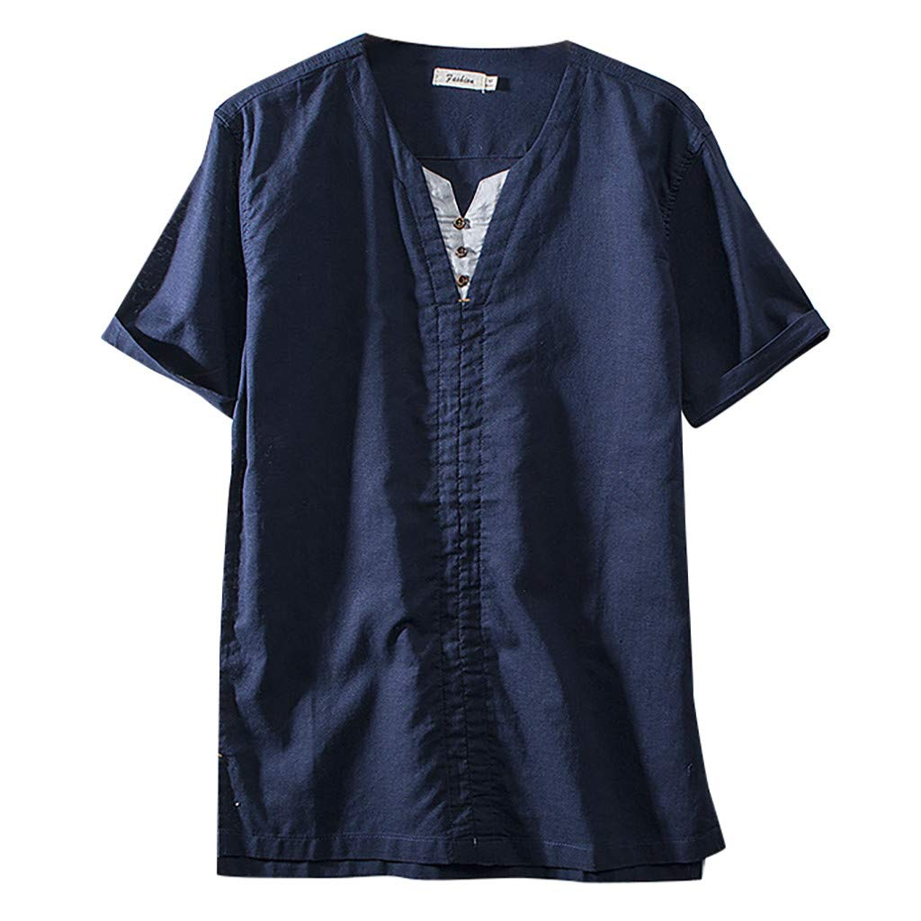 Men's Casual Minimalist Shirt, Sharemen Thin Section Cotton and Linen Short-Sleeved Fashion Classic T-Shirt(Navy,2XL)