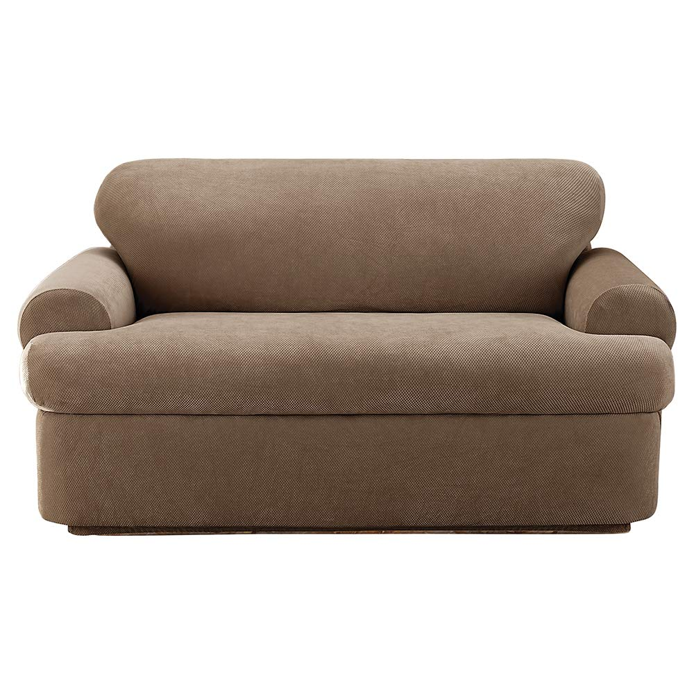 Brilliant Surefit Stretch Pique 3 Piece Loveseat Slipcover Taupe Gmtry Best Dining Table And Chair Ideas Images Gmtryco