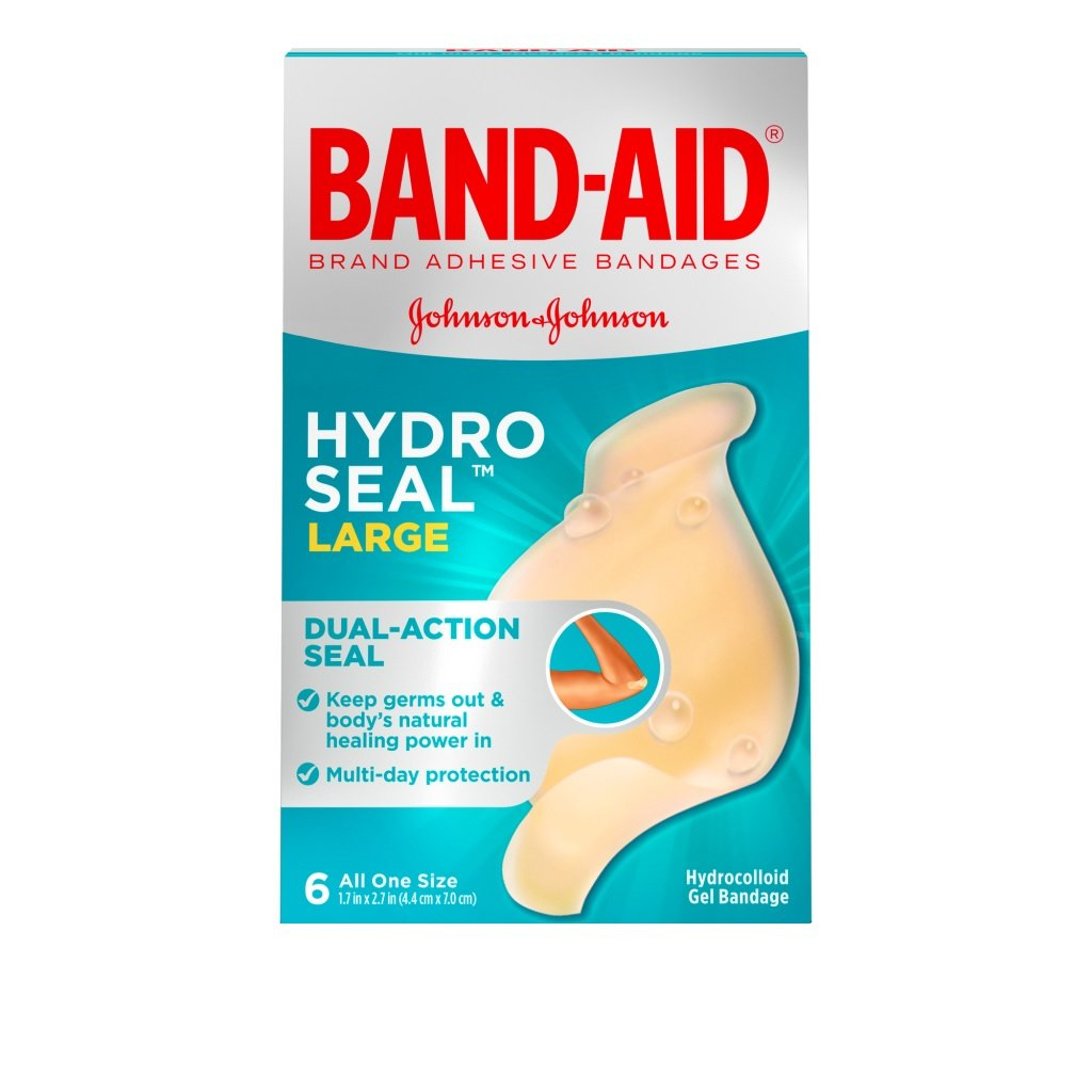 Band-Aid Hydro Seal, 6 Large Bandages Per Box (Pack of 2)