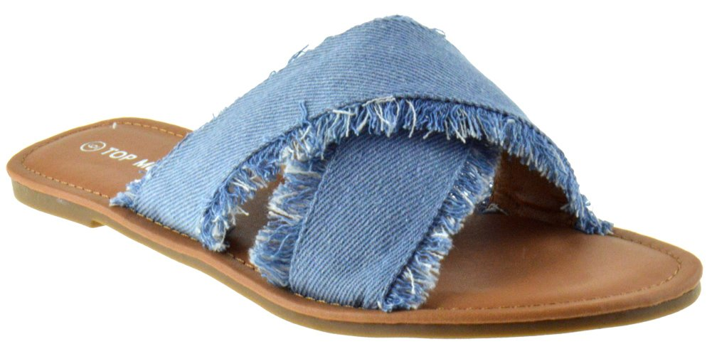 Top Moda Leslie 40 Womens Distresses Denim Elevated Slip on Sandals Light Blue 6.5
